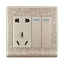 Electrical power socket with 2 gang switch